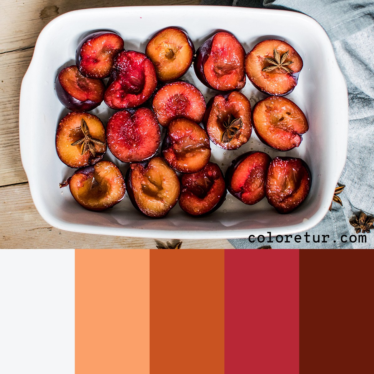 A warm and comforting palette from a tray of traditionally baked stone fruits.