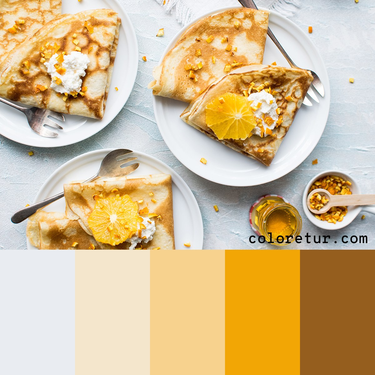 A zesty color palette from crepes served with bright citrus fruits