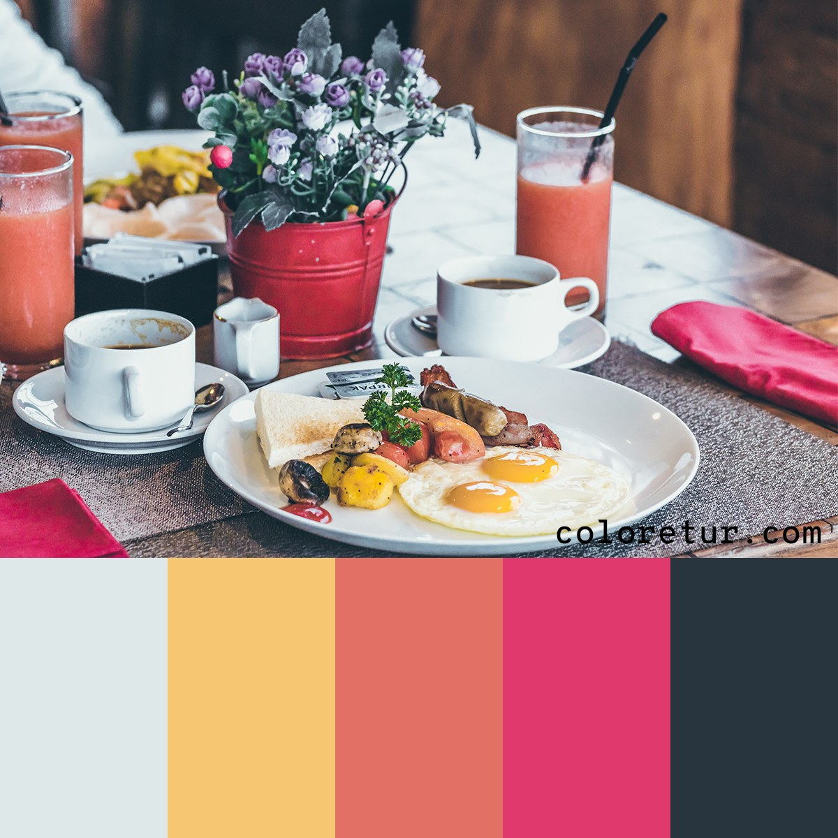 A bright color palette, with vibrant hues from a fresh meal