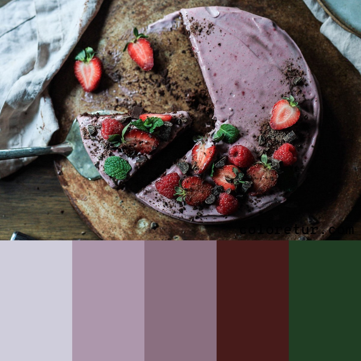 A dark, moody palette from the icing of a berry cake.
