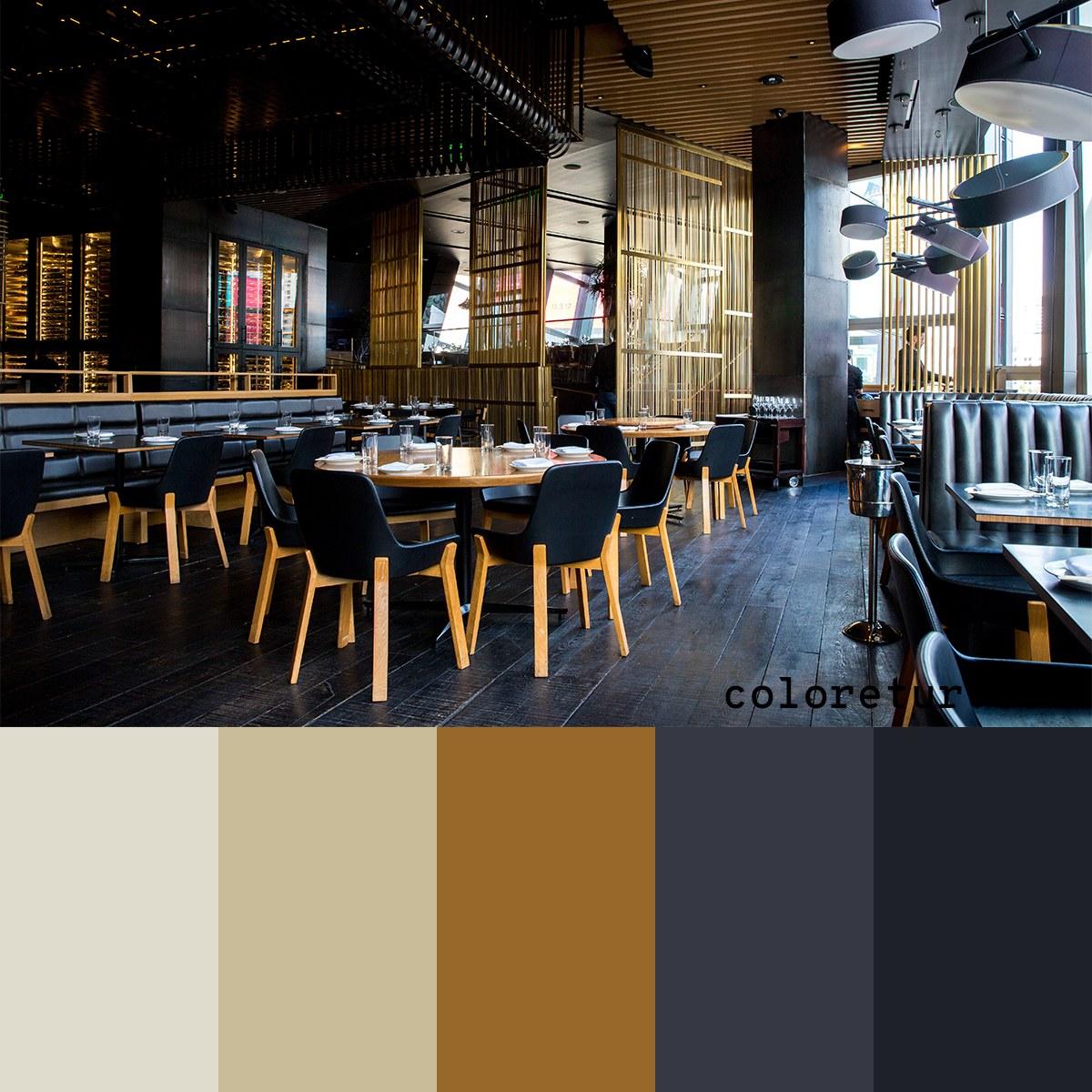 Clean, dark colors to create a modern feel in a bar environment