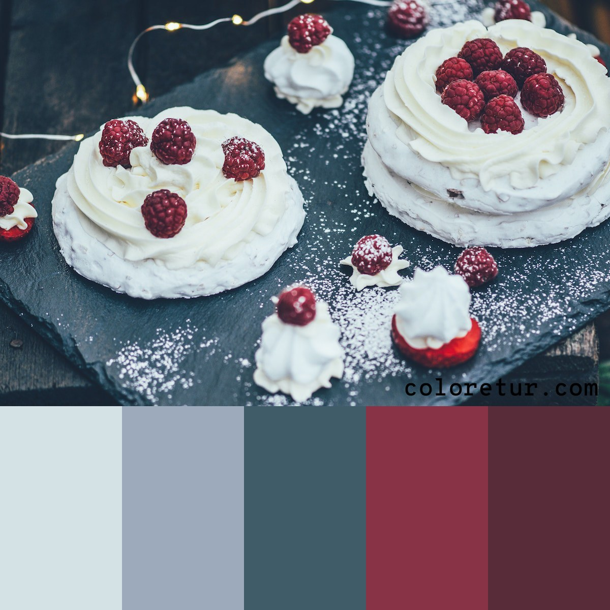 A dark palette from the rich flavors of a pavlova topped with raspberries