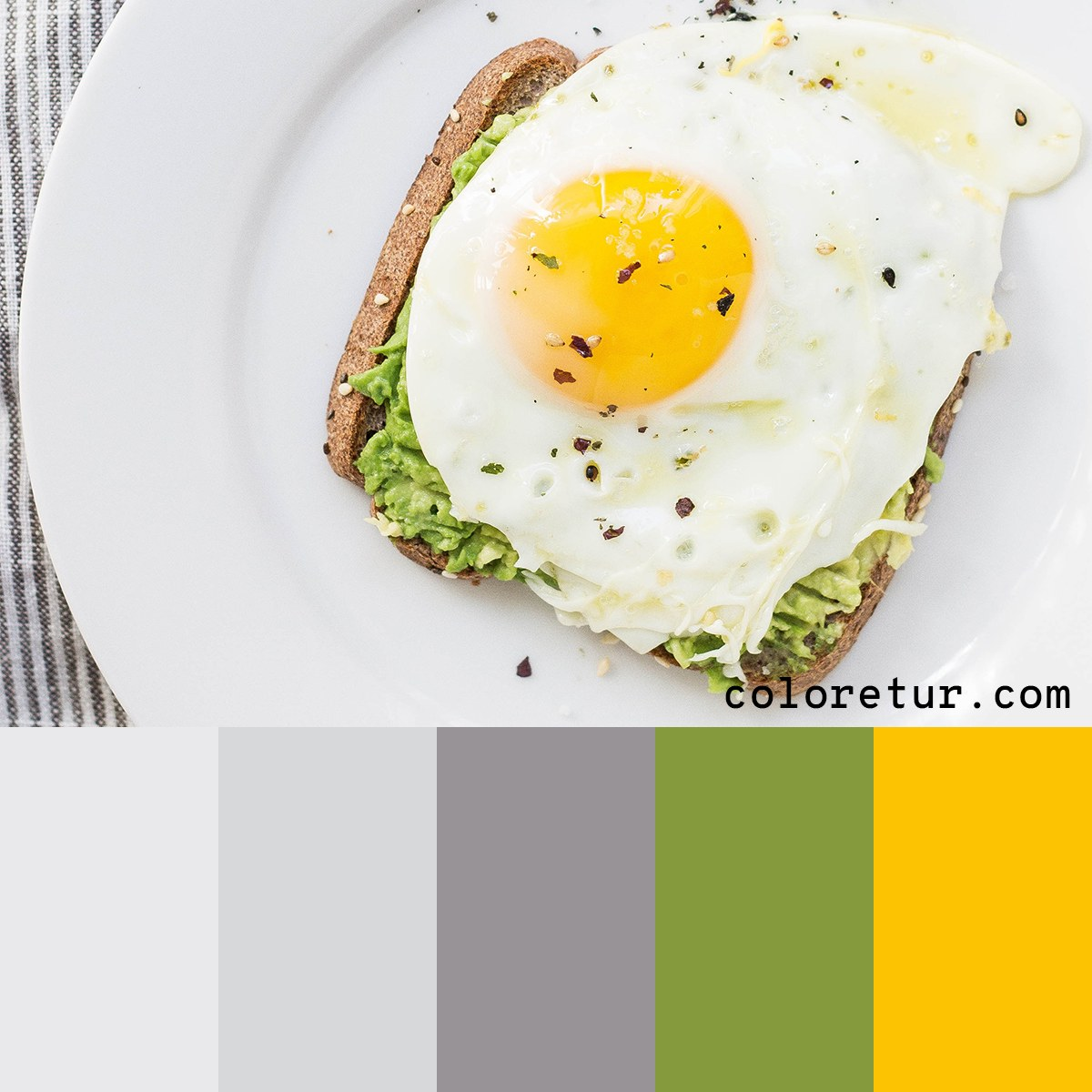 A color palette from smashed avo, classic meal for millennials.