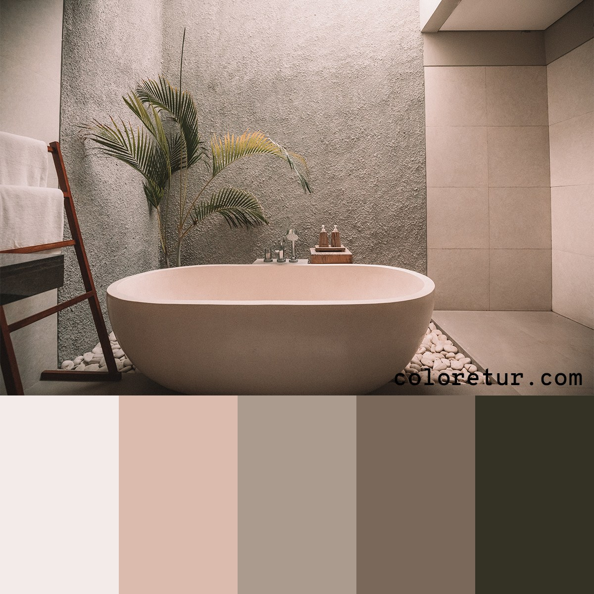 Neutral, natural colors from a bathroom made of stone and tile