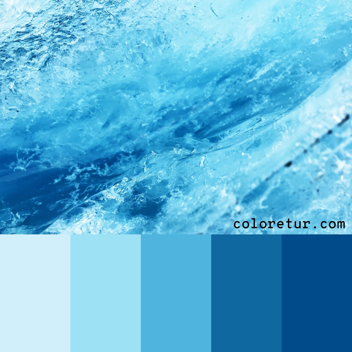 Icy blue tones make this cold color palette.
