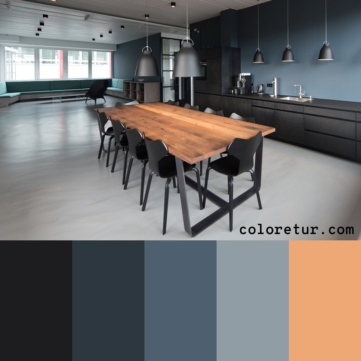 A cold, industrial palette, with warm accents pulled from natural timbers.