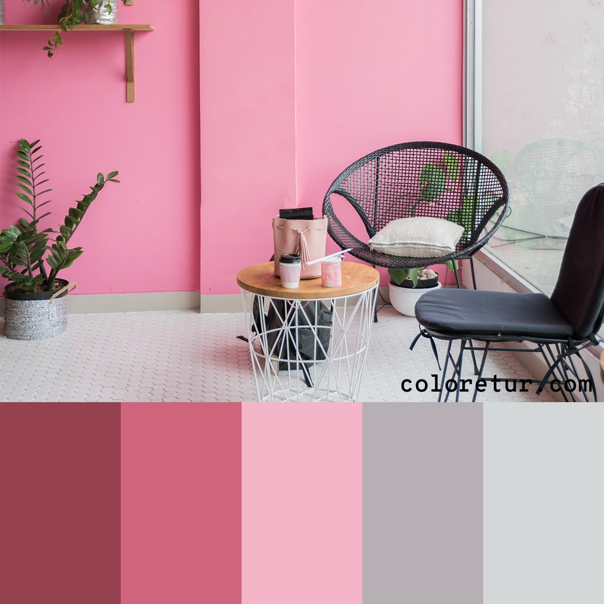 An air, bright sunroom painted in light pink creates a stunning backdrop that this color palette pulls from.